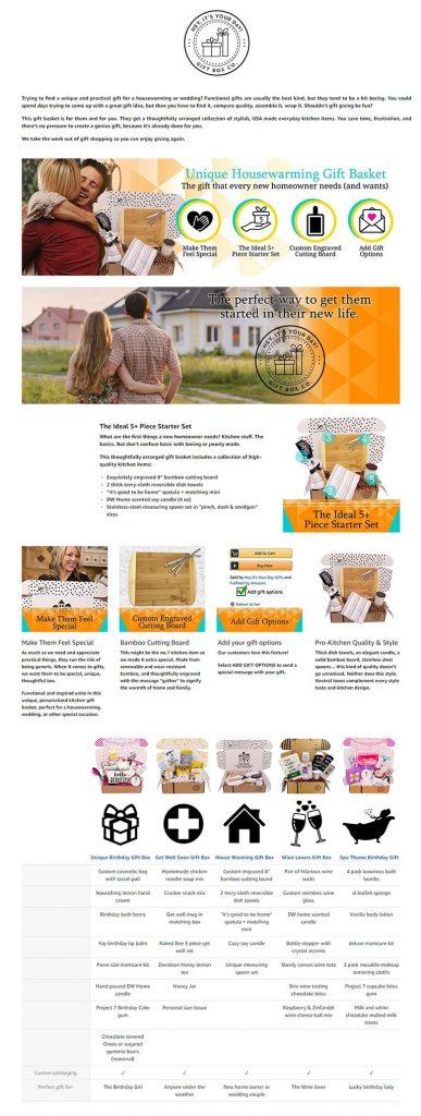 Amazon A Plus EBC - Unique HouseWarming Gift Basket