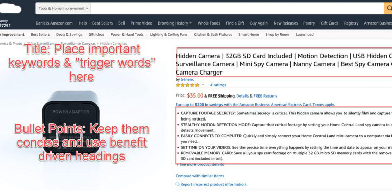 Amazon Title and Bullet Points