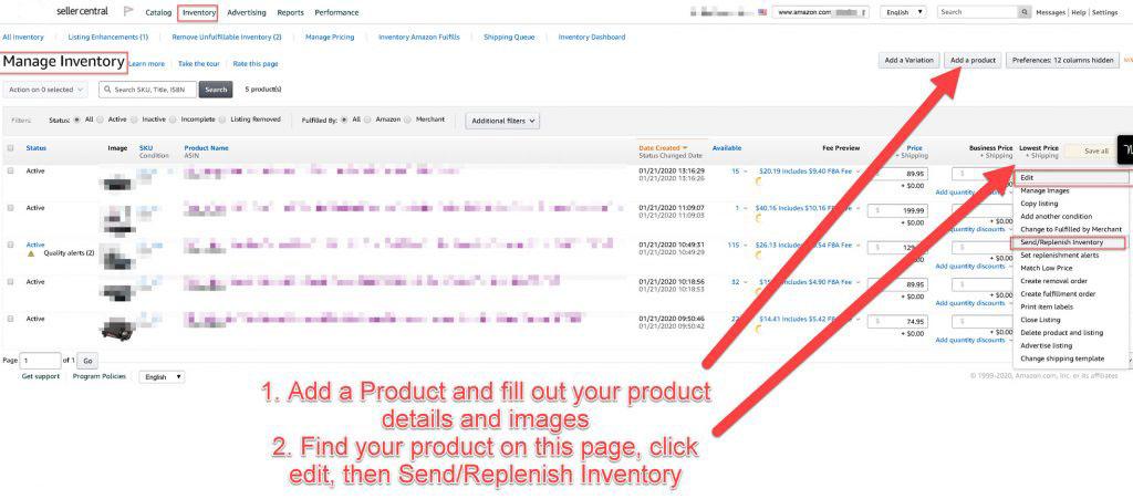 Send Inventory to Amazon