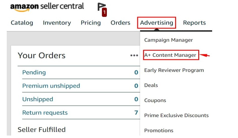 Click adveristing to access A+ Content Manager