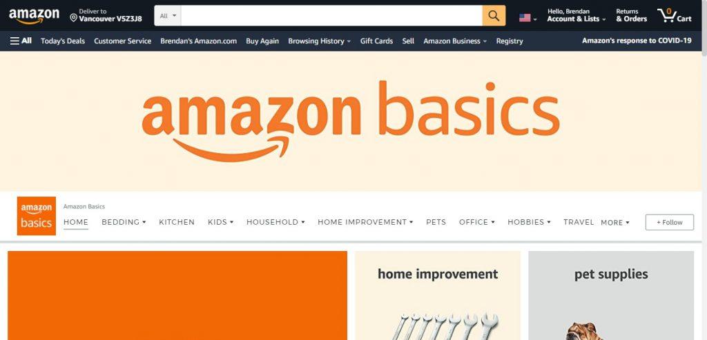 Amazon basics storefront