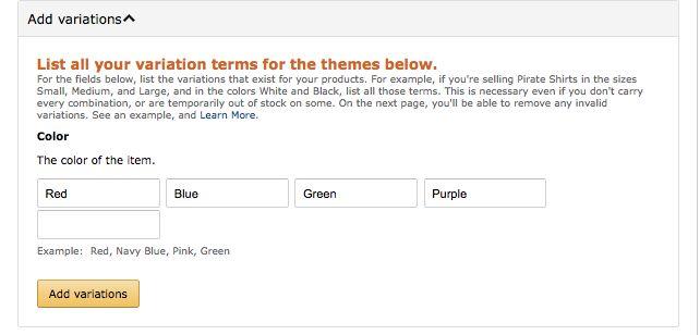 amazon listing variations