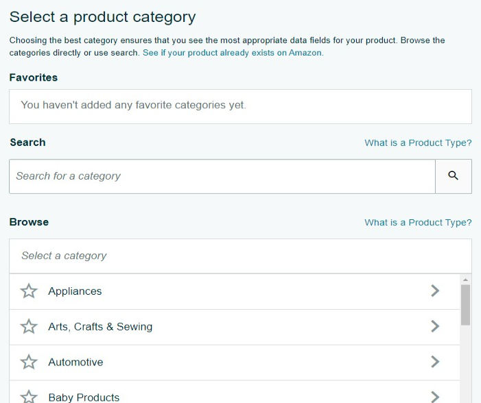amazon listing select a product category