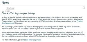 amazon html descriptions banned